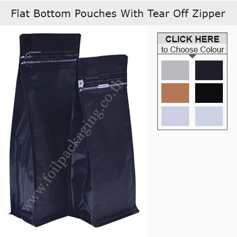 Flat Bottom Pouch With Tear Off Zipper